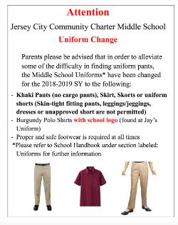 Middle School Uniform Change - Raven News - Jersey City Community
